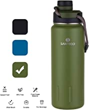 SANTECO Sports Bottle with 2 Spout Stainless Steel Thermos Water Bottle Vacuum Insulated 24oz/710ml