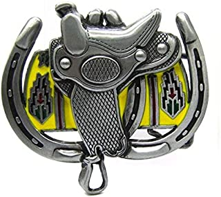 Unique Cowboy Horse Saddle Double Horseshoes Metal Belt Buckle Western Rodeo
