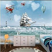 Iusasdz カスタム3D北欧漫画熱気球セーリング飛行機大テレビ背景壁紙壁画400X280Cm