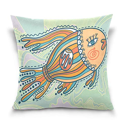 AEMAPE Ornamental Fish in Decorative Lake Throw Pillow Covers Case Soft Comfortable Decorative Cushion Both Sides Print for Sofa Couch Bed Office Car,18x18 in