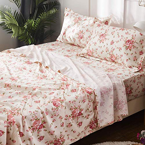 Brandream Shabby Floral Bed Sheet Set 100% Cotton Sheets Set 4pcs-Queen Size