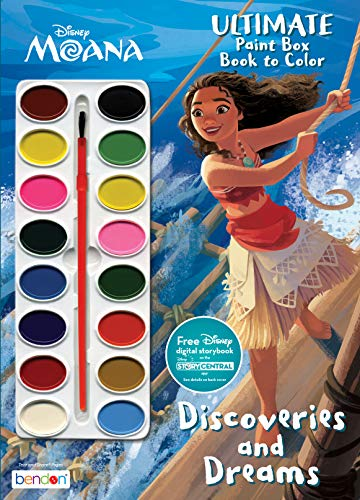 Disney Moana Painting, Coloring and Activity Book with 16 Watercolor Paints 42349 Bendon