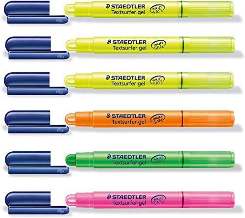 STAEDTLER Textmarker'Textsurfer gel' (6 Stifte, 4 Farben) pink, grün, orange und 3x gelb