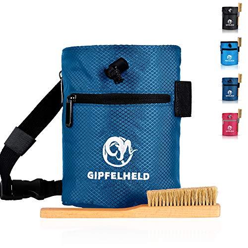 Gipfelheld® Chalkbag Set dunkelblau mit Boulder-Bürste zum Klettern und Bouldern, Magnesia-Beutel mit Karabiner, Hüftgurt und 2 Taschen, Kreide-Beutel auch für Crossfit und Gewichtheben