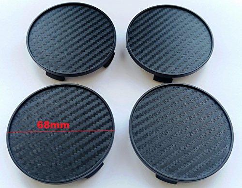 CARBON Nabenkappen 4 Stk x 68mm Radkappen Felgenkappen Raddeckel - PASSEND für Felgen mit 64,5-65mm Innendurchmesser des Lochs