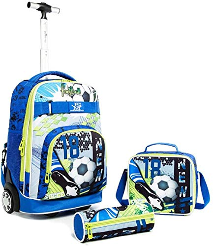 zhanxin Children's Trolley Backpack - Boys Girls Rolling Schoolbag Daypacks Children's Luggage Travel Luggage Children's Suitcase Bag Waterproof travel case with 2 wheels-Blue soccer ball_2 wheels