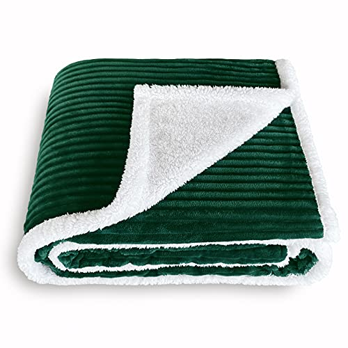 SOCHOW Sherpa Fleece Throw Blanket, Super Soft Fluffy Warm Stripe Plush Blanket for Sofa Couch Bed 60 x 80 Inches, Green