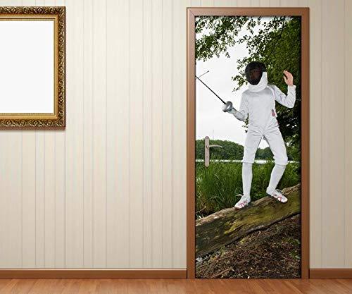Türaufkleber Sport Fechten Rapier Kat8 Maske Baum Tür Aufkleber Bild Türposter Türfolie Druck selbstklebend 15B982, Türgrösse:67cmx200cm