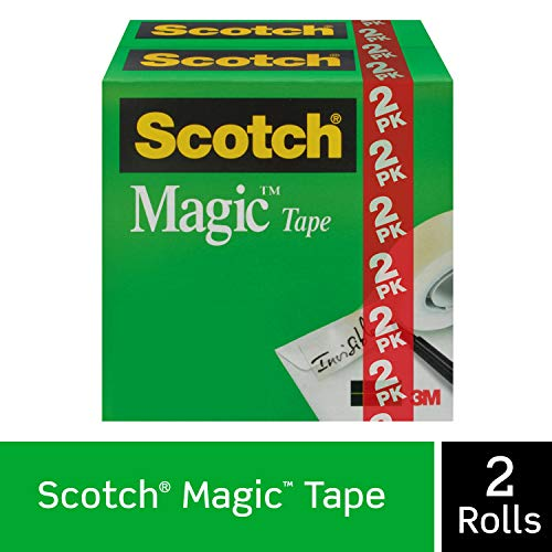 Scotch Magic Tape, 2 Rolls, Numerous Applications, Invisible, Engineered for Repairing, 3/4 x 1000 Inches, Boxed (810K2)