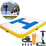 Happybuy Inflatable Floating Dock 8 x 5 ft, Inflatable Dock Platform with Electric Air Pump, Inflatable Swim Platform 6 Inch Thick, Floating Dock 4-6 People, Floating Platform for Pool Beach Ocean