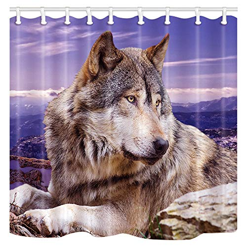 Shocur Wolf Shower Curtain, Highland Snow Mountain Wild Animals, Purple Sky Background, 69 x 70 Inches Polyester Fabric Bathroom Decor Set with 12 Hooks