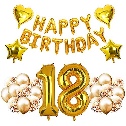 HONGECB Cumpleaños Globos 18, Decoración de Cumpleaños De 18er Cumpleaños, Globos Dorado Letras, Estrella De Cinco Puntas, Forma De Corazón, Globus de Confeti, Fiesta de Cumpleaños de Globo de Número