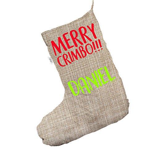 Merry Crimbo personalizzato Jumbo in iuta, calza di Natale sacchetto regalo