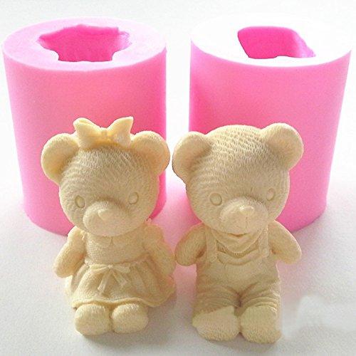 kakakooo Cute Bear-Jungen-Mädchen-Silikon-Seifen-Form-Fondant-Kuchen, die Werkzeuge Kuchen Schokoladen-Form-Gummi-Pasten Kerzengiessformen