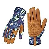 Leather Gardening Gloves for Women - Working Gloves for Weeding, Digging, Planting, Raking and Pruning (B-Blue)