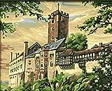 wcylj DIY Ölgemälde Von Nummer Kits Wartburg Landschaft DIY Leinwand Gemälde Ölgemälde Kits Für Kinder Erwachsene Anfänger Home Haus Dekor-40*50Cm (Ohne Rahmen)