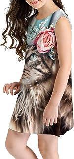 MURIC MRULIC Mädchen Ärmelloses A-Linie Kleid Streifen Tiere T-Shirt Kleid 7-10 Jahre Bunt 3D Gedruckt Freizeit Kleid Sommer Minikleid Partykleid Internationaler Kindertag Performance Kostüme