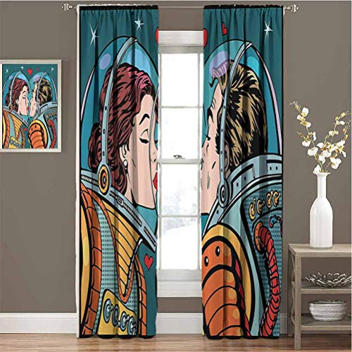Anime Love For bedroom blackout curtains Space Man and Woman Astronauts Kissing Science Cosmos Fantasy Couple Pop Art Style Artful Print Blackout curtains for the living room W54 x L63 Inch Multi