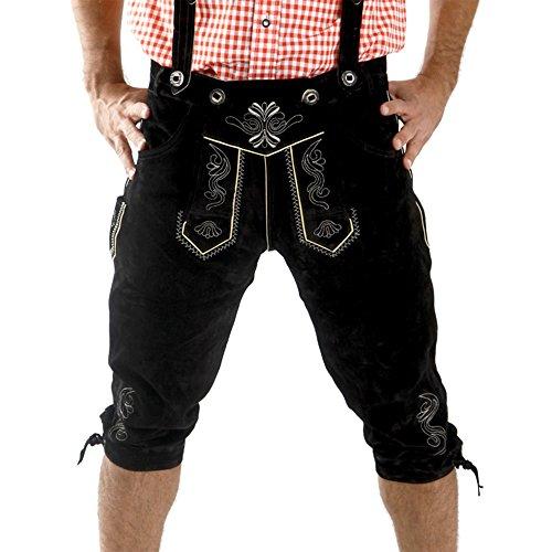 Almbock Lederhose Herren Tracht schwarz - Lederhose Herren schwarz lang mit verstellbaren Hosenträgern - bayrische Lederhose Herren - Trachtenhose 48