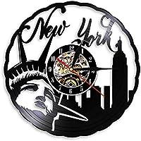 ビニールレコード壁掛け時計常夜灯ニューヨーク自由の女神現代映画クォーツリモートバックライトCDデザインキッドフレンドのための家の装飾-LED付き12インチ