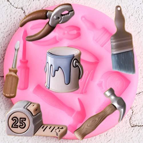 UNIYA Cepillo Cinta métrica Moldes de Silicona Cubo de PinturaCupcake Topper Fondant Decoración de Pasteles Molde de Chocolate Dulce