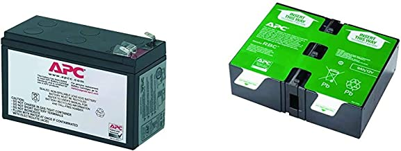 APC UPS Battery Replacement, RBC2, for APC Back-UPS Models BE500R, BK300C, BK350, BK500, BK500BLK & UPS Battery Replacement, APCRBC124, for APC UPS Models BX1500M, BR1500G, BR1300G and Select Others