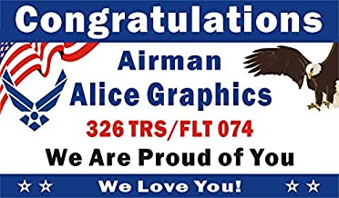 Alice Graphics 3ftX5ft Custom Personalized Congratulations Airman U.S. (US) Air Force Basic Military Training (BMT) Graduation Banner Sign