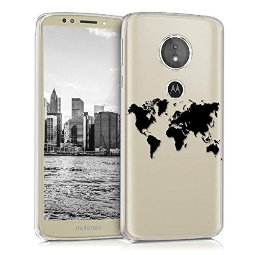 kwmobile Motorola Moto E5 Hülle - Handyhülle für Motorola Moto E5 - Handy Case in Travel Umriss Design Schwarz Transparent