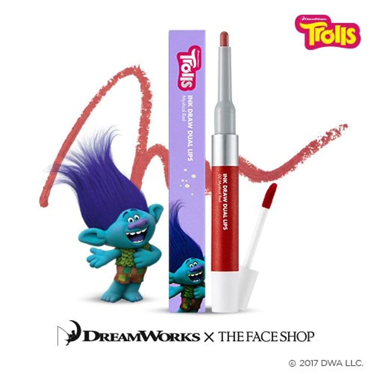 舌ベルベット舌The Face Shop Ink Draw Dual Lip_Trolls Edition 02. Red/ザ?フェイスショップ インクドローデュアルリップ_トロールエディション (02. Red) [並行輸入品]