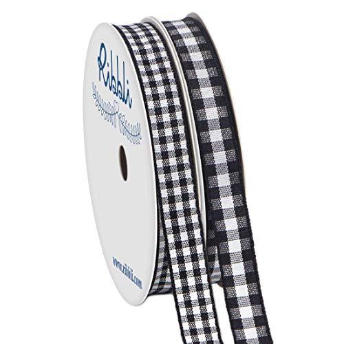 Ribbli 2 Rolls Black and White Gingham Ribbon
