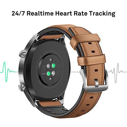 Huawei Watch GT Classic Smartwatch (46 mm Amoled Touchscreen, GPS, Fitness Tracker, Herzfrequenzmessung, 5 ATM wasserdicht) Saddle/braun - 3