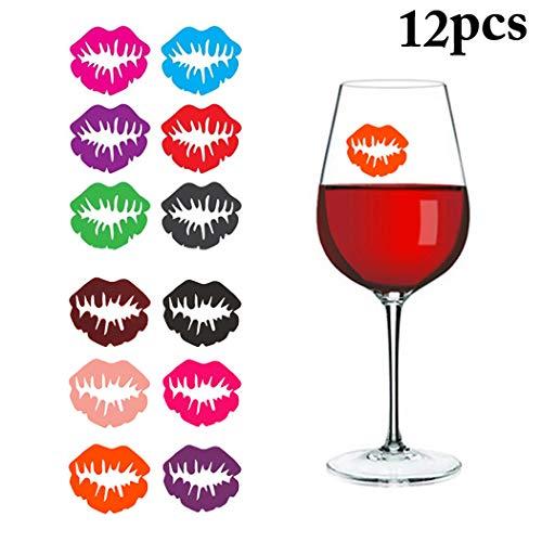 Outgeek Charmes de Verres, Verre À Vin Marqueur De La Mode Lips Creative Cling Verre À Vin Mark Verre à Vin Décor pour la Fête Bar Noël Désherber Famille