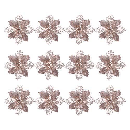 Toyvian 12 Stücke Christbaumschmuck Glitter Poinsettia Weihnachtsschmuck Baumschmuck Künstliche Weihnachten Blumen Deko für Weihnachtsbaum Weihnachtskranz