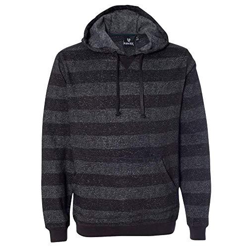 Burnside Printed Striped Fleece Sweatshirt.B8603 - Large - Black / Charcoal