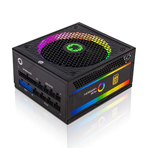 Power Supply 850W Fully Modular 80+ Gold Certified with Addressable RGB Light - Vairous Color Button, GAMEMAX RGB850-Rainbow