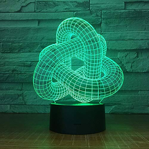 WisdomMi Children's Lighting Night Light for Kids Abstract Circle 3D Led Night Light Hologram Illusions 7 Colors Change Decor Lamp Best Gift for Home Deco Touch Switch 7 Colors