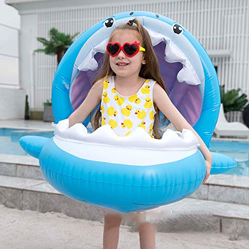 YONG Baby Pool Float with Canopy Safety Seat Sharkfloat Inflatable Swimming Ring Blue Summer Family Outdoor Activities 3-36 Months Best Gifts
