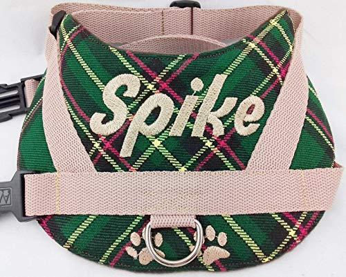 Hundegeschirr S M L XL XXL Brustgeschirr Name bestickt Schotten Karo grün für kleine mittelgroße und große Hunde