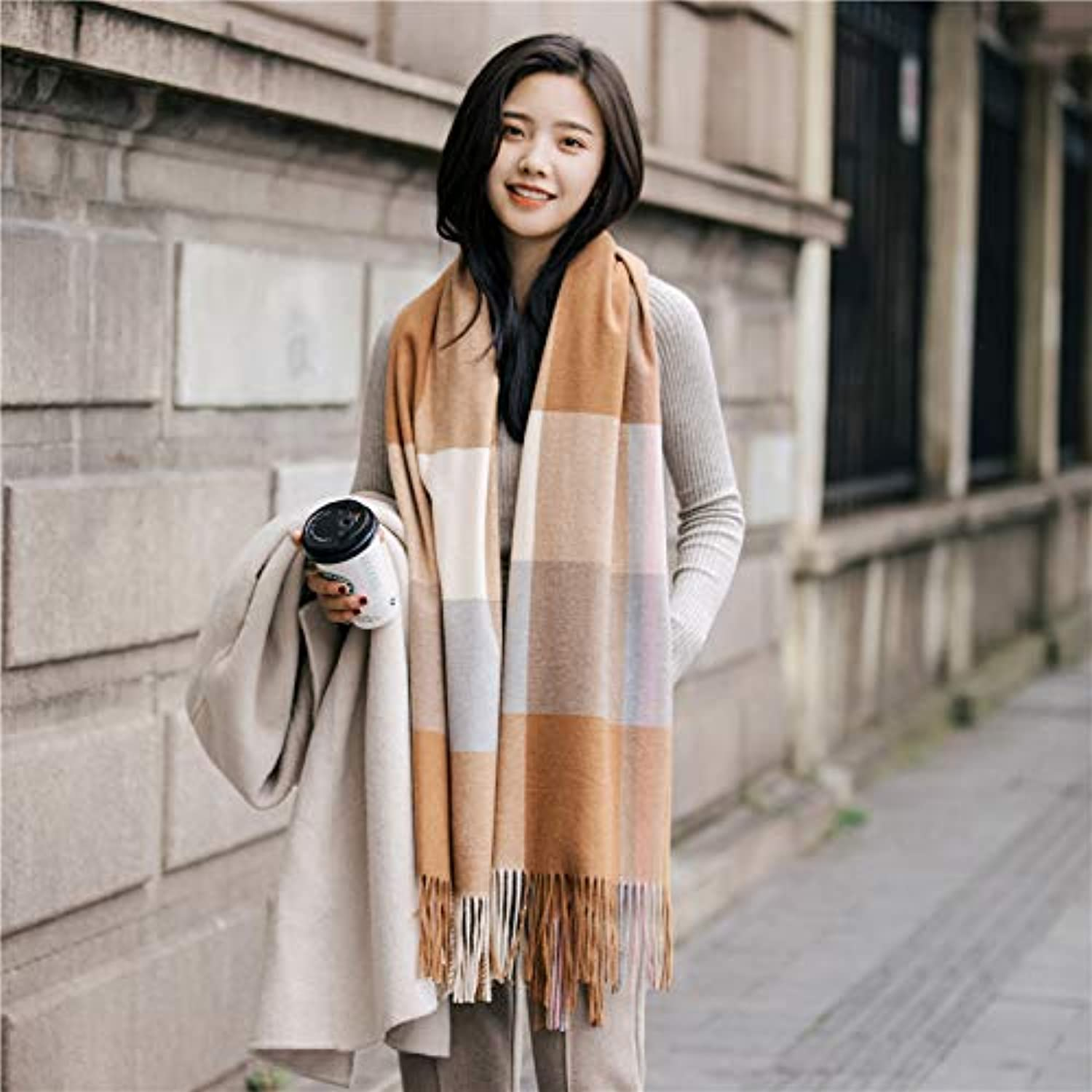 LLIND Home Scarf Women's Winter Wild Stripe Gradient Thicken Long Large Shawl Small Fresh Student Bib (color   orange)