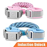 Betertek Anti Lost Wrist Link with Magnetic Induction Lock 2 Pack (4.92ft Pink+8.2ft Blue) Toddler Wrist Leash for Kids Child Safety Harness Baby Proofing Wristband with Reflective Strip