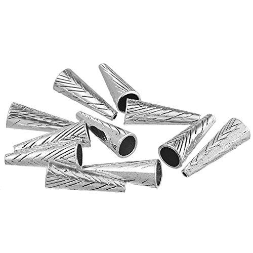 YC 15 pcs argenté perle conique 28 x 10 mm