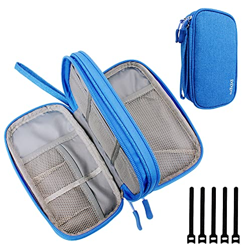 DDgro Electronics Travel Organizer, Small Accessories Pouch Bag for Keeping Power Cord/Charger/Cables/Wireless Mouse/Kid's Pens Organized (Azure Blue)