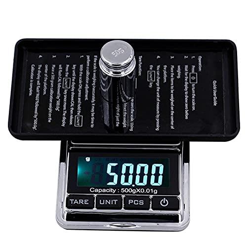 Báscula digital de bolsillo multifuncional con pantalla LCD, báscula de precisión para joyería, báscula electrónica de cocina para alimentos-500g_ / 0.01g