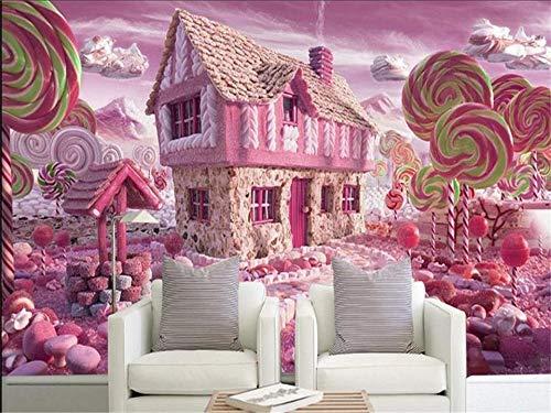 300x210cmHD Wandbilder Tapeten Wandbilder für Wände Wandbilder für Schlafzimmer , 3d Fototapeten Wandbild Kinder Wohnzimmer Rosa Glasierte Süßigkeiten Haus Malerei Sofa TV Hintergrund Wand