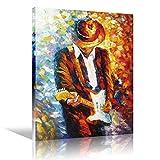 Toile murale Art Rock musique Pop guitariste Guitar Player homme Expression électrique oeuvre pour decoration de salon décoration murale