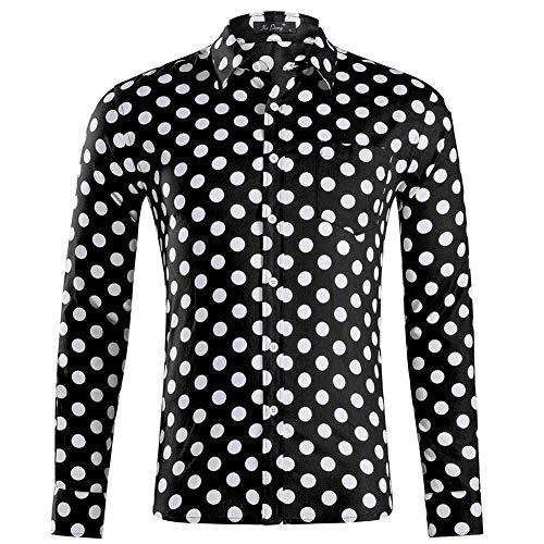 Herren Langärmelig Hemd,Fashion Regular Fit Baumwollhemd Mit Tasche Lässig Faltenresistent Kariert Weiß Punkt Schwarz Tops Ideal Für Geburtstag, XL