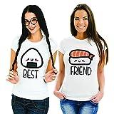 Coppia di T Shirt Magliette You And Me Best Friend Sushi 1 Bianche Donna Best S Donna Friend XL