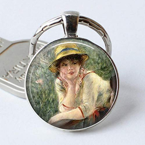 Keyjiang sleutelhanger lunch nautisch Jewerly Renoir beroemde schilderij kunst sleutelhanger cabochon sleutelhanger