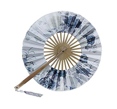 Faltbare Seide Falten Fan mit Blumen Windmühle Kreis gefalteten Fan Sommer Fan