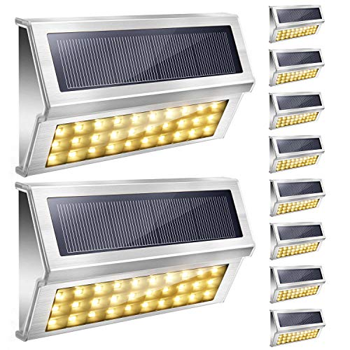 Upgraded 30 LED Solar Step Lights 3000K Warm White JACKYLED 10-Pack Outdoor Stainless Steel Solar Stair Lights Waterproof Deck Security Lighting for Dock Fence Patio Garden Wall Porch